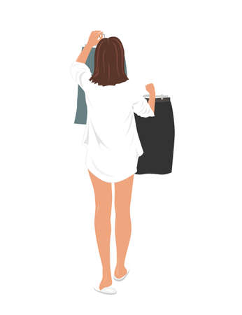 Young pretty woman selecting clothes to wear to the office work. Girl holding up two skirts on a hangers and choosing what to wear. Daily Life concept, vector illustration Ilustração