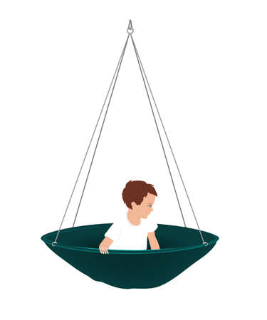 Vector illustration of cute little boy in round hammock. Kids vestibular activities, ergotherapy, or sensory integration concept. Isolated object on white background