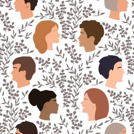 Peoples talk seamless pattern, togetherness and communication concept. Happy women and men talking and smiling to each other. Friends chatting together. Vector illustration Иллюстрация
