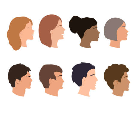 Vector Set of Female and Male Adult Profiles Silhouettes