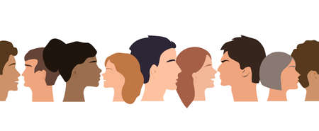 Seamless border pattern of different people profile heads. Humans of different gender, ethnicity, and color. Vector background