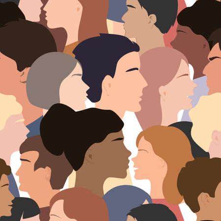 Seamless pattern of different people profile heads. Humans of different gender, ethnicity, and color. Vector background Иллюстрация