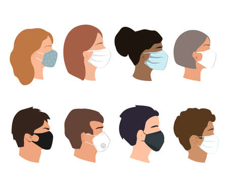 People set faces with medical masks. Coronavirus prevention concept. Different gender, ethnicity, and color woman and man profiles silhouettes. Vector illustration