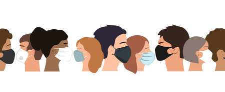 People set faces with medical masks, vector seamless border. Coronavirus prevention concept. Humans of different gender, ethnicity, and color