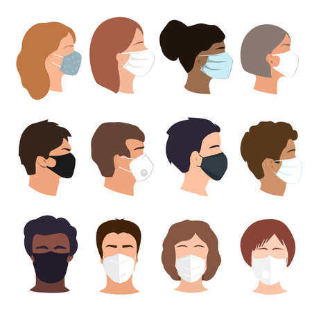 People set faces with medical masks. Coronavirus prevention concept. Different gender, ethnicity, and color woman and man profiles silhouettes. Vector illustration icons isolated on white