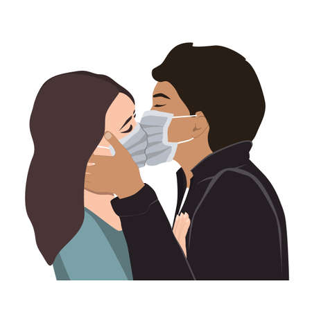 Love on Covid Quarantine, a Passionate Kiss Vector Illustration. Romantic man and woman couple kissing In Protective Medical Masks. Corona Virus Spread Prevention, forbidden love concept Vetores