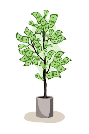 Green potted tree growing currency with dollar sign on white background, vector illustration