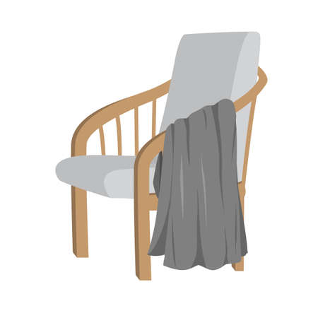 Scandinavian style modern gray armchair with wooden legs and plaid, isolated on white background. Vector flat illustration. Furniture, interior object, stylish armchair. Single piece of furniture