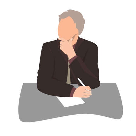 Thinking or listening businessman sitting at desk and holding a pan in office. Business man silhouette, flat vector illustration