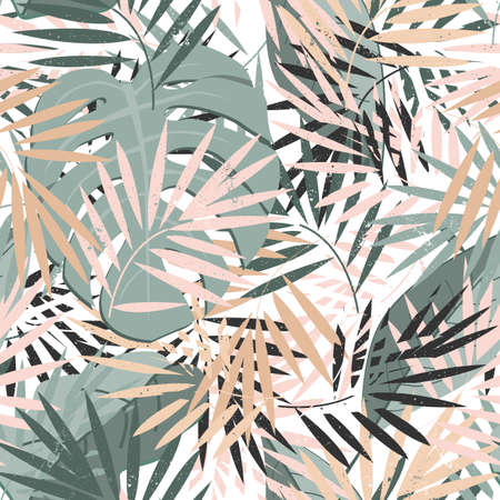 Beautiful seamless vector floral summer pattern background with tropical palm leaves. Perfect for wallpapers, web page backgrounds, surface textures, textile