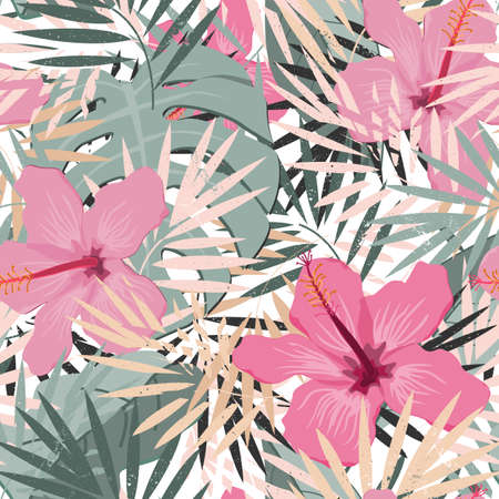 Seamless vector floral summer pattern background with tropical palm leaves and hibiscus flowers. Elegant pastel palette. Perfect for wallpapers, web page backgrounds, surface textures, textile