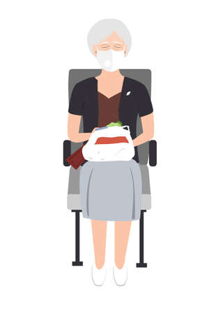 Senior woman in medical mask sitting on the train chair and dreaming. Vector illustration on white background