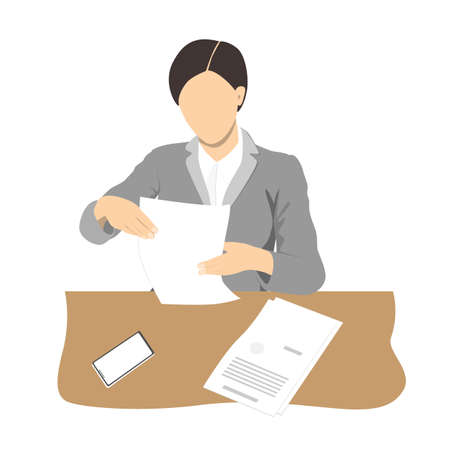 Young business woman reading documents and sitting at the office desk. Businesswoman silhouette, vector flat illustration
