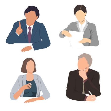 Vector set of business people sitting at the office desk. Listening, talking, writing, and reading business men and women. Business team silhouettes, flat illustration Иллюстрация