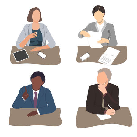 Vector set of business people sitting at the office desk. Listening, talking, writing, and reading business men and women. Businesspeople team silhouettes, flat illustration Иллюстрация