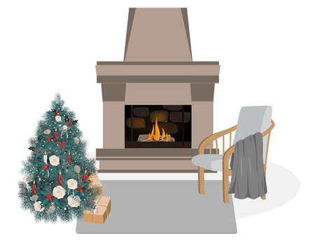 Cute and cozy Scandinavian interior, winter hygge vector illustration. Fireplace, decorated Christmas tree, chair, and blanket. Flat cartoon background