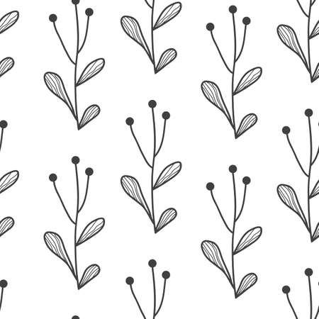 Vector seamless border with doodle hand drawn plants. Black and white. Hand drawn abstract background for frames, posters, textile Иллюстрация