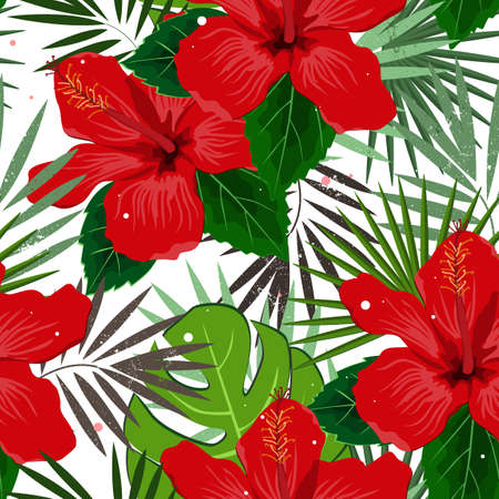 Seamless vector floral summer pattern background with tropical palm leaves and hibiscus flowers. Perfect for wallpapers, web page backgrounds, surface textures, textile
