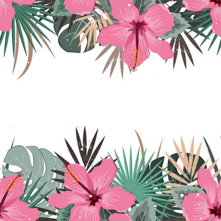 Summer border with tropical palm leaves and hibiscus flowers. Tropic frame background. Perfect for cards, web page backgrounds, prints Иллюстрация