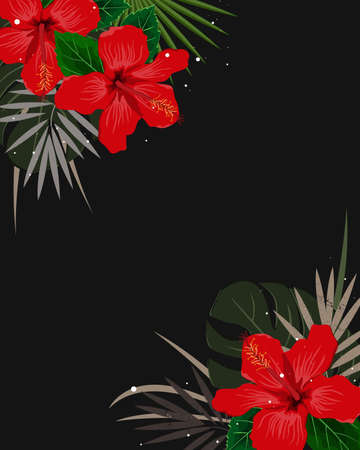 Summer corner border with tropical palm leaves and hibiscus flowers. Tropic frame background. Vector illustration for cards, web page backgrounds, prints