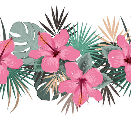 Seamless vector floral summer border with tropical palm leaves and hibiscus flowers. Perfect for wallpapers, web page backgrounds, surface textures, textile