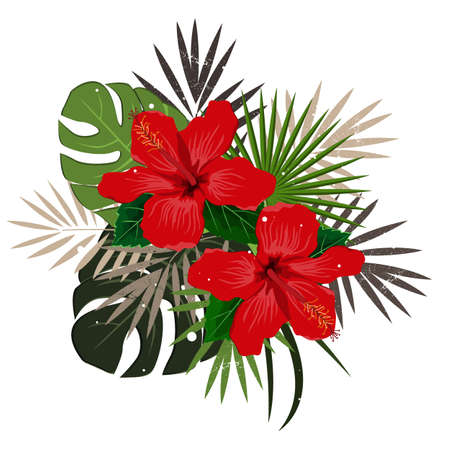 Bouquet composition with red hibiscus flower and palm leaves, flat vector illustration. Tropical exotic Hawaii plants isolated on white