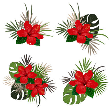 Set of vector bouquet compositions with red hibiscus flower and palm leaves, flat vector illustration. Tropical exotic Hawaii plants isolated on white.