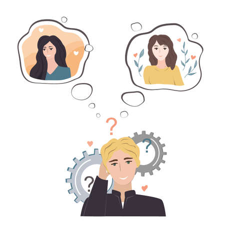 Undecided teenage guy doubting between two loves. Young man thinking about two pretty girls and trying to understand which one he likes. Cartoon vector illustration