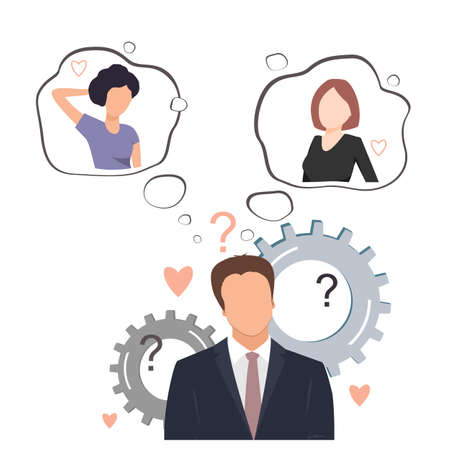Undecided man doubting between two loves. Young businessman thinking about two pretty women and trying to decide which one he likes. Flat vector illustration Ilustração