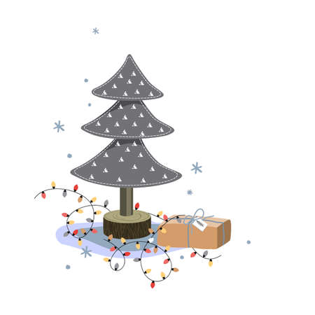 Miniature felt fir tree, christmas gift box, and bright lights on white background. Holiday greeting card, cartoon vector illustration
