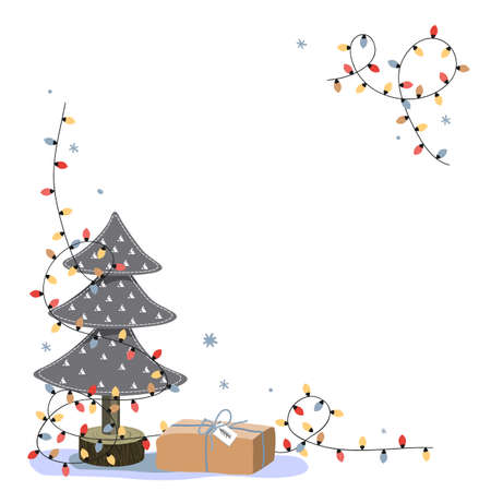 Christmas corner composition with place for text. Miniature felt fir tree, gift box, and bright lights on white background. Holiday greeting card, cartoon vector illustration