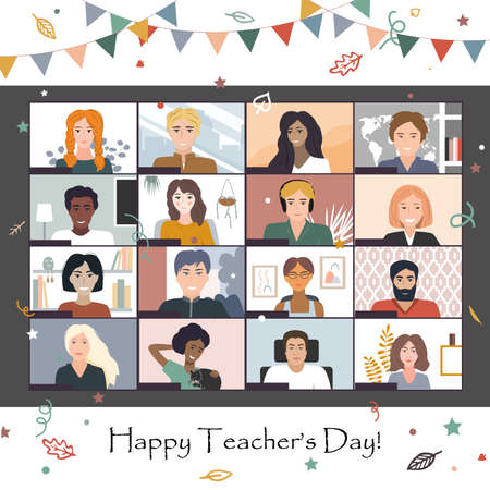 Happy Teacher s Day 2020. Online students lesson or meeting. Coronavirus quarantine distance education concept, vector illustration. Studying students. Laptop screenshot, Conference video call