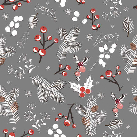Winter seamless white pattern with berries, leaves and snowflakes, vector illustration Ilustração