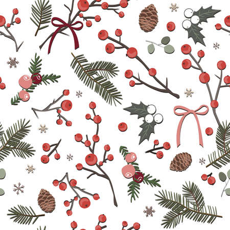 Cute winter seamless white pattern with berries, leaves and snowflakes, vector illustration