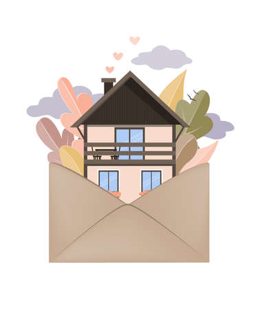 Autumn forest and house in Envelope. Hygge autumn and cosy home concept. Vector illustration Ilustração