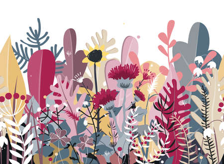Doodle seamless background of stylized autumn flowers, leaves and trees for greeting cards, textile, or banners. Meadow or forest border Ilustração