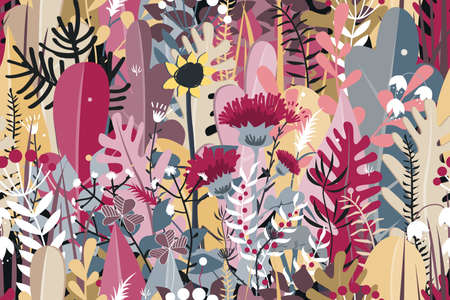 Doodle seamless pattern of stylized autumn flowers, leaves and trees for greeting cards, textile, or banners. Meadow or forest autumn grass
