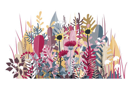 Doodle forest background of stylized autumn flowers, leaves and trees for greeting cards, textile, or banners. Meadow or forest border