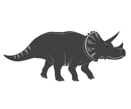 Cute cartoon vector illustration of Triceratops isolated on white Ilustração