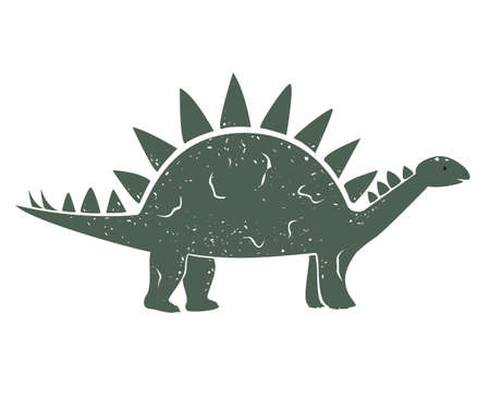 Cute Cartoon Dinosaur, Vector outline illustration, isolated on white. Little kid of Stegosaurus