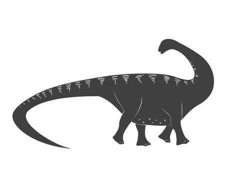 Little apatosaurus cartoon baby. Jurassic period dinosaur icon isolated on white, apatosaurus vector illustration