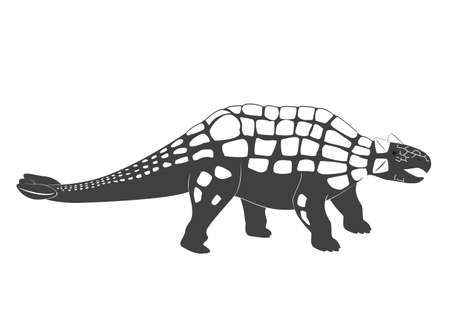 Little Ankylosaurus cartoon baby. Jurassic period dinosaur icon isolated on white, Ankylosaurus vector illustration