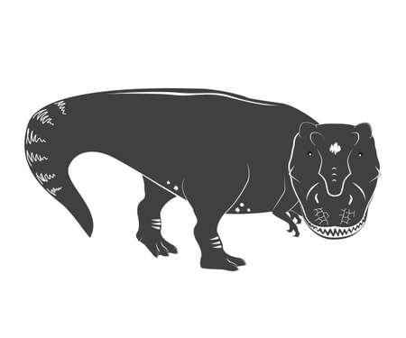 Vector illustration of a young and cute Tyrannosaurs Rex. T rex Dino. Cute cartoon dinosaur isolated on white background