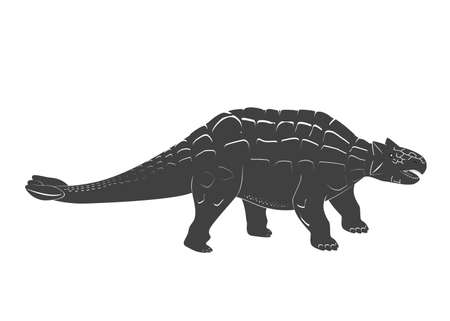Little Ankylosaurus cartoon baby. Jurassic period dinosaur icon isolated on white. Armored dinosaur black and white vector illustration