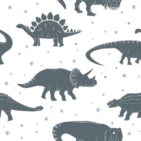 Winter seamless vector pattern with cute young dinosaurs and hand drawn doodle snowflakes