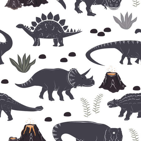 Vector seamless pattern with cute different dinosaurs, plants and volcano. Cartoon landscape of Jurassic period with dino. Pastel texture for kids wallpaper, fabrics and different surfaces Ilustração