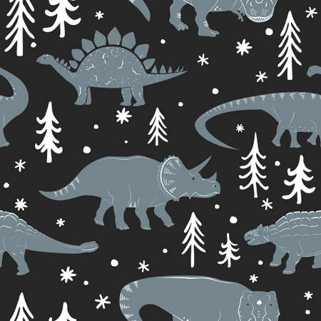Winter seamless vector pattern with cute young dinosaurs and hand drawn doodle trees and snowflakes. Xmas kids background