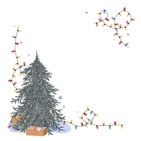 Christmas corner composition with place for text. Fresh undecorated Xmas tree, gift box, and bright lights on white background. Holiday greeting card, cartoon vector illustration Ilustração