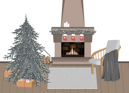New Year celebration interior, vector illustration. Christmas festive atmosphere. Home coziness, Xmas celebration, winter holidays hygge. Christmas tree and fireplace in room