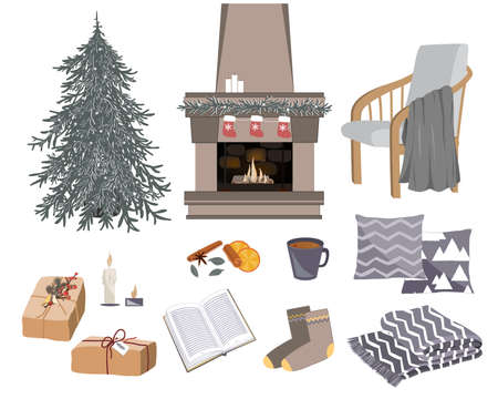 Vector cozy winter set with fireplace, chair, gifts, pillows, and other hygge things. Warming objects illustration. Items for cold season isolated on white background Ilustração